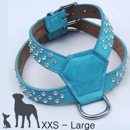 Designer Leather Dog Harness  21 Colors  Xxs