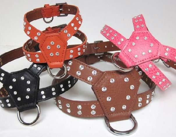 Designer Leather Dog Harness  21 Colors  Neck Sizes 7