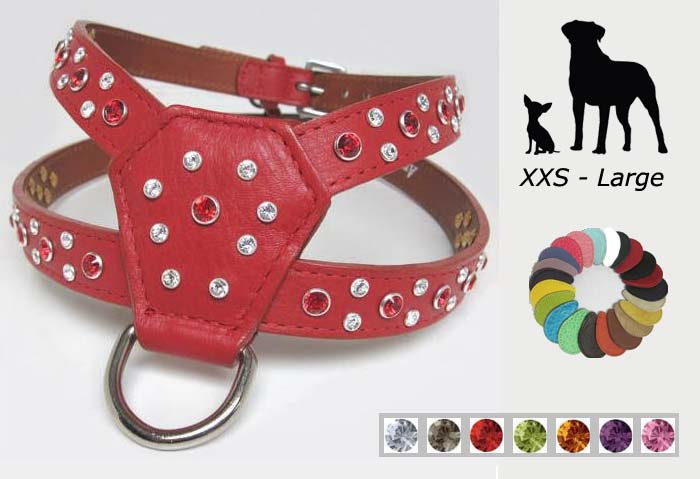 Designer Rhinestone Dog Harness  21 Colors  Xxs