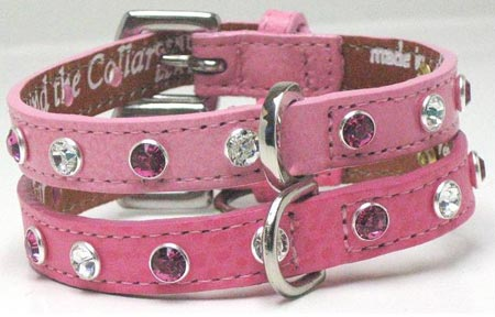 Swarovsky Crystals Pink Leather Dog Collars