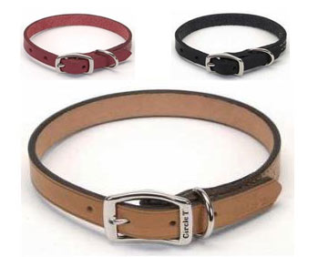 Circle T Pink Rolled Leather Dog Collar