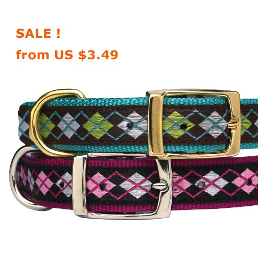 cheap nylon dog collars, argyle pink and blue, brown, green